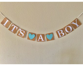 It's A Boy Heart Banner