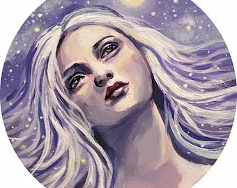 "Original Art, ""Aeris"" by Kamille Freske, pagan art, goddess art, wiccan painting, wicca, fantasy art, Goddess painting, small painting, fae"