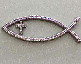 Swarovski Crystal Embellished Cross Ichthus Auto Emblem