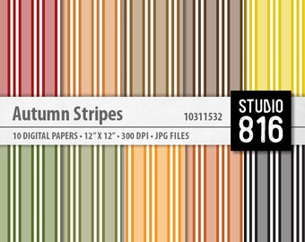 Autumn Stripes - Digital Paper for Scrapbooking, Cardmaking, Blogs, Papercrafts #10311532