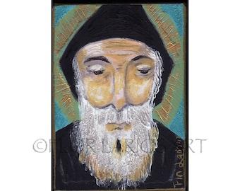 Saint Charbel - Aceo print mounted on Wood (2.5 x 3.5) Folk Art  by FLOR LARIOS