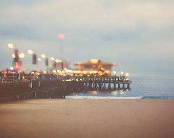 photography, Santa Monica beach pier photo, Santa Monica print, night photography, ocean wave landscape, abstract, rainbow colors, art print