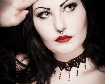 Gothic choker Victorian lace with ruby red pendant and Garnet swarovski cascade - ANGELIQUE - FEATURED in Gothic Beauty magazine