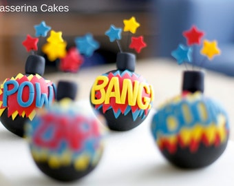 Bomb cake topper for the superhero spy in your family.  Zap, Pow, Wham, Kaboom!  Words and colours are up to you!