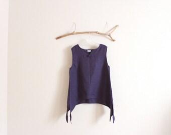 custom linen swallow splits top / made to order / summer linen top / plus size clothing / linen vest / handmade in USA / minimalist