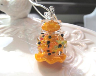 Necklace orange glass lampwork stacked beads