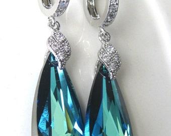 SET OF 5 - Bermuda Blue Bridal Earrings, Blue Crystal Wedding Earrings, Bridesmaids Earrings, Crystal Drop Wedding Earrings