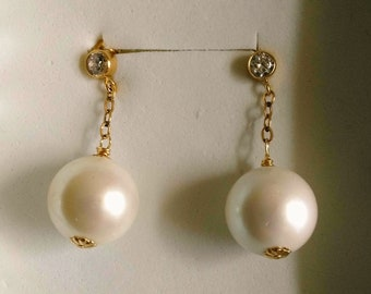 Genuine South Sea 14 mm Pearl Post Earrings, Large White/Cream Pearl Earring, Gold Filled&Zircon Post, Birthday Anniversary by enchantedbeas