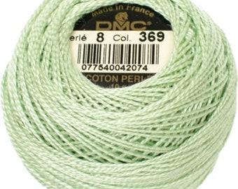 DMC 369  Perle Cotton Thread   Size 8   Very Light Pistachio Green