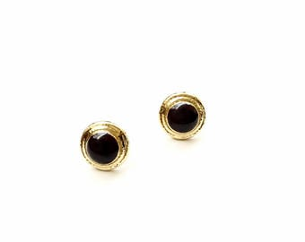 These Black & Gold Stud Earrings have 24k Gold Plating w/ Gold Toned Posts. Will Arrive in Gift Box, Branded Tag, and a nice Ribbon.