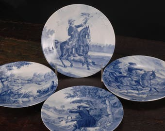Limoges, Romance, Canape / Appetizer Plates, Hunting Scenes