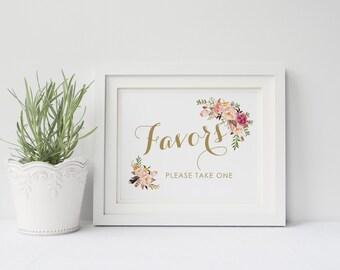 Printable wedding favors sign, Wedding favor sign, Boho Floral favors sign printable,  Instant download, The Mia collection