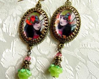 Autumn Gypsy Earrings - Lampwork Rose Version