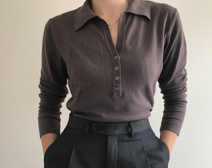 90's Dark Taupe Polo Knit