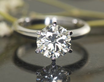 2ct Forever Brilliant Moissanite Solitaire in Classic 6-Prong Setting, Moissanite Engagement Ring, 8mm/2ct Round Brilliant Cut, Estrella B