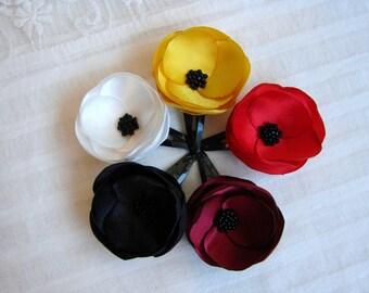 Poppy Hair flowers, Poppy girls clips, Red hair flower, White hair flower, Black hair flower, Yellow hair flower,Burgundy hair flower