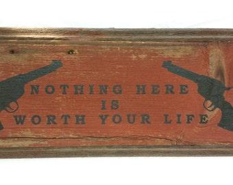 Barnwood Gun Warning Sign