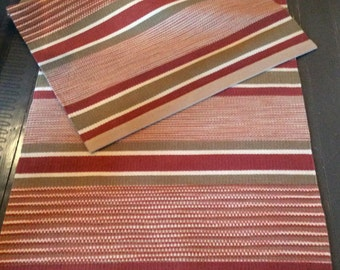 Long Runner Rug, Handwoven Rug, Hand Dyed Wool, Hand Woven Stripes Solids and Ikat Effect, Etruscan Red Bronze-Beige and Cream