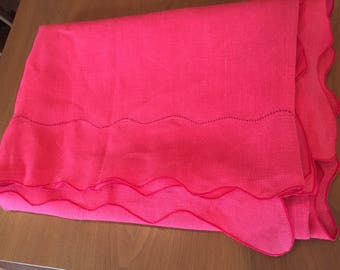 Vintage tablecloth, red linen with scalloped edges