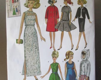 """Pattern 11 1/2"""" Fashion doll clothes Sewing Paper pattern by Simplicity 1242 uncut paper pattern vintage"""