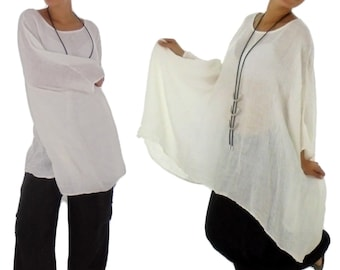 HH900W ladies tunic poncho blouse linen layered look one size White