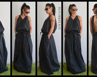 Maxi Dress, Long Dress, Black Dress, Open Back Dress, Plus Size Dress, Kaftan Dress, Black Maxi dress, Long Black Dress