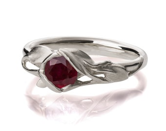 Leaves Engagement Ring - 18K White Gold and Ruby engagement ring, engagement ring, leaf ring, filigree, antique, July Birthstone, recycled,6
