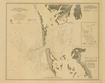 Charlotte Harbor Entrance - 1868 Map Nautical Chart - Florida Harbors West 474