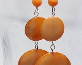 Orange Dangle Earrings, Mother of Pearl Earrings, Orange Jewellery, Statement Earrings, MOP Earrings, Orange Earrings, Women's Earrings