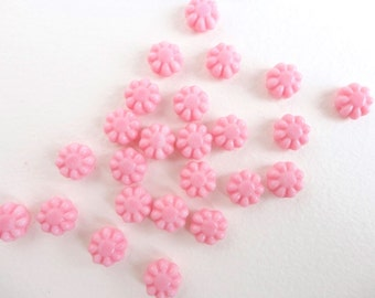 10 x 9mm Czech Glass Beads, Pink Flower Beads, Pink Pressed Flower Beads, Pink Glass Beads FLW0005