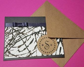 Handmade Monogrammed Folded Card- 1 Initial Monogram-Stationery notecards- Set of 6 notecards