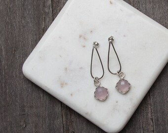 Chalcedony | Tear Drop | Studs | Sterling Silver | One of a Kind