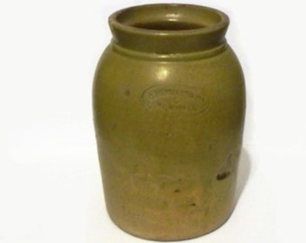 Antique C. Hermann Co. Crock Yellow Ware Jar Milwaukee