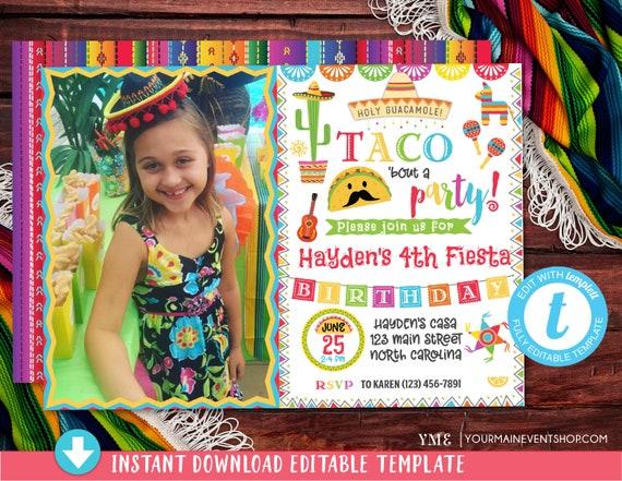 Fiesta Invitation Photo, Fiesta Birthday Party Invitation, Mexican Fiesta Birthday Party Invite, Taco Bout a Party Invitation, taco twosday