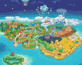 Paper Mario Mushroom Kingdom Map Cross Stitch Pattern