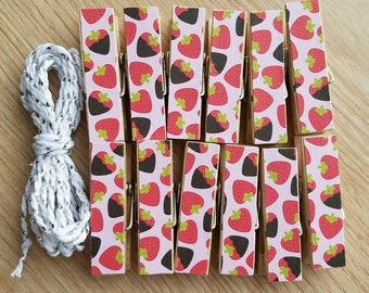 Pink Chocolate Covered Strawberries Chunky Little Clothespin Clips w Twine for Display -  Set of 12 - Valentine's Day - Ready to Ship