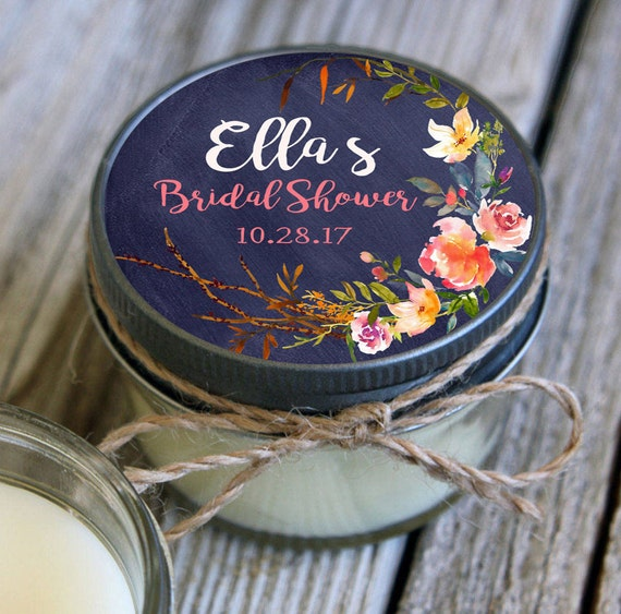 12 pc - 4 oz Soy Candle Bridal Shower Favors//Navy & Blush Wedding