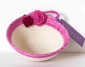 Small Cotton Rope Bowl, Coiled Rope Bowl, Round Bowl, Silk Fabric Bowl, Pink Coil Bowl, Small Pink Bowl, Gifts for Her, Fabric Bowl