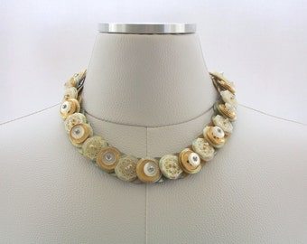 Button Necklace, Mother of Pearl Necklace, Swarovski crystal Necklace, Gold Necklace, Fashion jewelry