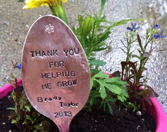 Thank You For Helping Me Grow-LARGE Repurposed vintage hand stamped silverware