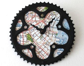 Brooklyn New York Fahrrad Uhr |  Karte Uhr |  Brooklyn Karte Uhr |  Fahrrad-Getriebe-Uhr