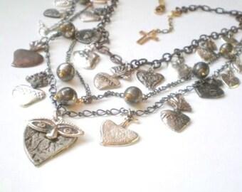 Chic Milagro Cascade Heart Necklace.. Hand Made Boho Gypsy..  GIFT. Wedding.  Mother. Wife Anniversary.  Sister Birthday. Healing Spirit