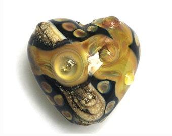 Transparent Black & Free Style Heart Focal Bead - Handmade Lampwork Bead 11816105