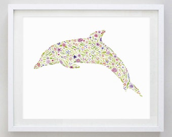 Dolphin Floral Watercolor Art Print