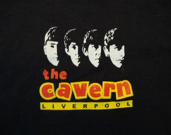 Vintage 80's The Beatles Classic Rock Band Concert Fan The Cavern Liverpool Black T Shirt Size 2XL