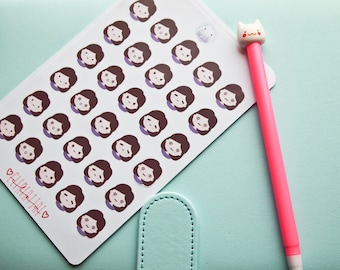 Emoticon Planner stickers kawaii - Cute emotions character for your planner - 30 stickers for Filofax Midori kikki k planners