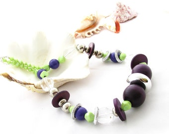 Upcycled Purple and Lime Green Necklace