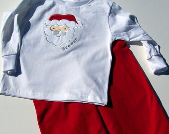 Personalized Santa Applique Tee Shirt and Pants set