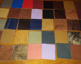 100% Real Genuine Leather Small Offcuts Remnants Various Colors Multicolored 7 Pieces 6 x 7 cm