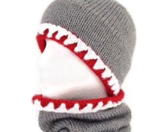 Shark hat, Shark scarf, Shark hat and scarf, Hat and scarf combo, cowl, Knit shark hat, crochet shark hat, Shark scarf, Shark cowl,